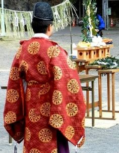 Shinto ceremony carried out before the Dondon Yaki Fire Festival, Shizuoka, Japan