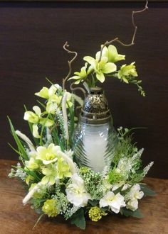 Artificial Flower Composition with Candle Work Artificial .- Artificial flower composition with candle Artificial flower composition with candle Arrangements Funéraires, Easter Flower Arrangements, Funeral Flower Arrangements, Grave Flowers, Funeral Flowers, Silk Flowers, White Flowers, Grave Decorations, Flower Decorations