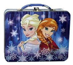 DISNEY FROZEN SISTERS TIN LUNCH BOX (Item # 12010335)   Anna and Elsa, sisters and friends forever! This cool lunch box features the two Frozen characters in a wintry snowflake scene, along with a plastic handle and metal clasp closure.    worthajoygifts.com