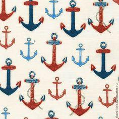 Купить Хлопок дизайнерский - белый, морской стиль, якорь, якоря, морская, канат, корабль, синий
