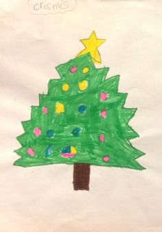 A #Christmas tree drawing made by Eleonor, 6 years old • Art My Kid Made Artist of the day on Dec. 26, 2012. #kidart