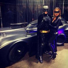 Cosplay couple Justin Levine and Annika Aguas as Batman and Catwoman at the Tampa Bay Comic Con 2014.