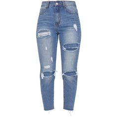 Extreme Rip Boyfriend Mid Wash Jean ($45) ❤ liked on Polyvore featuring jeans, bottoms, pants, jeans/pants, boyfriend fit jeans, light wash distressed jeans, torn boyfriend jeans, destroyed jeans and distressed boyfriend jeans