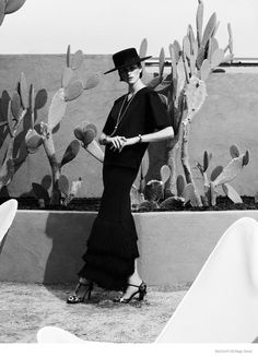 Bazaar Germany's March issue. Model Athena Wilson evokes her timeless style in modern day designs photographed by Nagi Sakai. Athena wears the late Vreeland's well-known bob hairstyle while posing in the Arizona desert in ensembles styled by Kai Margrander.