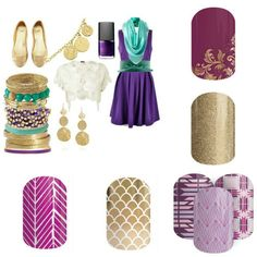 Jamberry spring summer 2015! Purple dress, turquoise scarf, gold flats - so cute!  www.trishasmith.jamberrynails.net