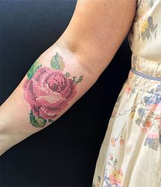 Cross stitch red rose tattoo on the right inner forearm. Cross stitch red rose tattoo on the right inner forearm. Inner Forearm Tattoo, Forearm Tattoos, Body Art Tattoos, Small Tattoos, Sleeve Tattoos, Tattoos For Guys, Tattoo On, Back Tattoo, Pretty Tattoos