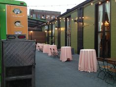 Food truck wedding w/outdoor cocktail tables