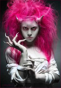 Super scary and pink!  #halloween #halloweenmakeup #makeup #makeupinspo #makeupideas #creative #fantasy #spooky #scary #pink #white #nails #devil #demon