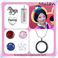 Mulan themed Origami Owl Living Locket includes her horse (Khan), the colors of her dress, her white hair flower, a Warrior tag and a family heart. Disney