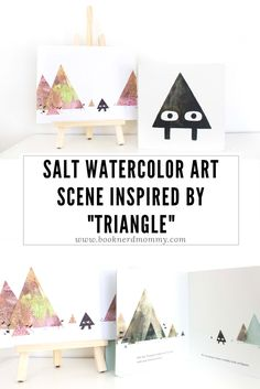 """DIY salt watercolor art inspired by the new book """"Triangle"""".  Simple to create with a beautiful result.  Perfect for story time crafts!"""