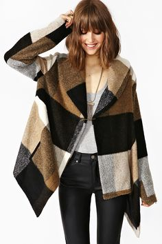 Nasty gal Roswell Plaid Jacket in Black | Lyst