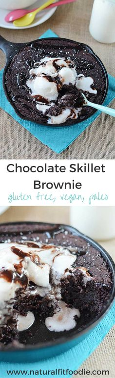 This Chocolate Skillet Brownie is dense fudgy gooey chocolatey. All the things a brownie should be! Its got the added bonus of being gluten free refined sugar free paleo and vegan! Low Carb Dessert, Paleo Dessert, Vegan Desserts, Just Desserts, Delicious Desserts, Dessert Recipes, Yummy Food, Gluten Free Sweets, Healthy Sweets