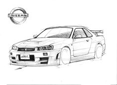 Nissan Skyline GT-R R34 Drawing by Vertualissimo