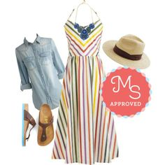 outfit, the dress, sandal, stripey dress