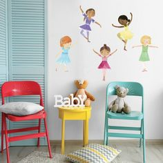 "Dancing Ballerina Wall Stickers, Reusable Fabric Decals. 5 sweet ballerina wall decals will happily dance a ballet on your wall! Ballerina fabric decals created in a collage technique and are repositionable and reusable. We are happy to introduce our new wall decals by Maria Carluccio! Maria is best known for her whimsical home decor products and playfully inspired children's books. All ballerinas are approximately 20-23"" tall by 11-14.5""wide. They are quite large and will create a lovely..."