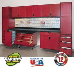 RedLine offers more storage cabinet styles and sizes than any other custom garage storage manufacturer. With the various styles, widths, depths and individual cabinet configurations available, more than 500 cabinet choices are available.