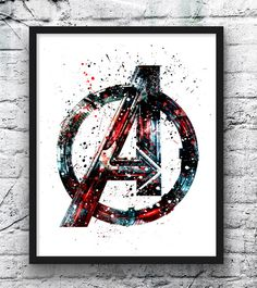Avengers Watercolor Print, Avengers Logo, Superhero Posters, Marvel Print, Art, Wall Art, Home Decor, Kids Room Decor, Home & Living This prints are reproductions of my artwork. I am full time artist from Europe. This is a high quality giclee print, kids poster. Printed on Archival