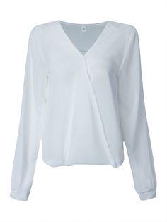 Sale 11% (12.69$) - Women Casual Long Sleeve V-Neck Chiffon Shirt