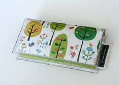 Mini Card Holder - Fancy Forest, Dear Sukie, mini card, moo card, tree wallet, small wallet, snap, vinyl, paper, cute wallet, bird wallet