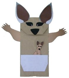 Manualidad con bolsa de papel la canguro
