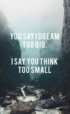 You say I dream too big. I say you think too small.  Get more motivational quotes @ https://www.facebook.com/handymanidesigns