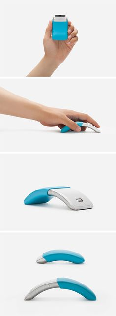 The Samsung mouse manages to pull off being clunky and flat with its compact, telescopic design. The entire design is arc shaped, giving it a definitive curve that allows for easy gripping and when th Technology Hacks, Technology Design, Digital Technology, New Technology, Clever Gadgets, High Tech Gadgets, Amazing Gadgets, Gadget Gifts, Industrial Design