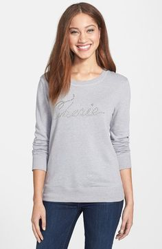cc053d42beb1 Halogen® Stud Embellished Crewneck Sweatshirt (Regular   Petite)