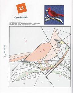 Blog do Patchwork: Foundation pieced cardinal