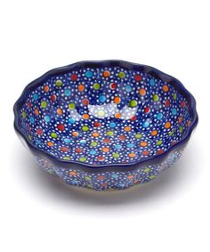 Take a look at this Blue Polka Dot Scallop Bowl by Lidia's Polish Pottery on #zulily today!