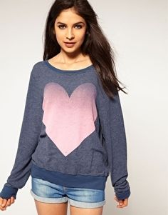 Pink | Wildfox Big Pink Heart Baggy Sweater at ASOS - StyleSays