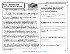 ecosystems reading comprehension worksheets comprehension worksheets and reading comprehension. Black Bedroom Furniture Sets. Home Design Ideas