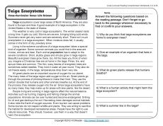 Printables Science Comprehension Worksheets comprehension sun and the ojays on pinterest reading a passage about extremely cold ecosystems called taiga cross curricular focus life s
