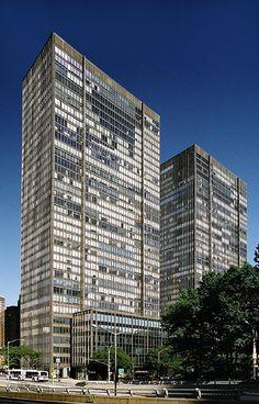 860+870 United Nations Plaza, New York  by Harrison, Abramovitz + Harris in 1966