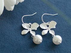 Pearl Bridesmaid Earrings  Silver Flowers and by FiveThirty, $100.00