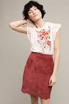 Anthropologie embrodery, lace for texture and awesome neck and flutter sleeve (featured with Napa Lazer-Cut Leather Skirt}
