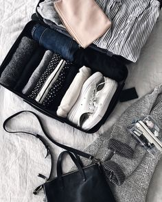 Packed for japan - suitcase packing, carry on packing, packing list for . Carry On Packing, Suitcase Packing, Packing Tips For Travel, Travel Essentials, Travel Hacks, Travel Packing Outfits, Travel Gadgets, Study Abroad Packing, Mein Style