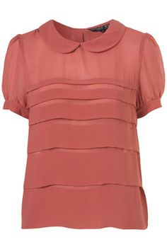 Petite Tiered Peter Pan Collar Blouse in Rose from Topshop