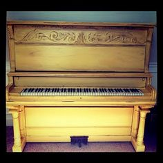 yellow piano redo - I want a fun colored piano in my family room... and I want to force my kids to take piano lessons so I can be a good mean mom :)
