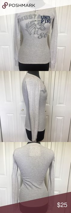 Victoria's Secret Pink grey waffle knit top This top is in good condition without stains. It does have some weird holes at the very edge of the cuffs and neck. Looks like it was done on purpose. Please examine photos. Measurements taken flat and in inches. Shoulder to shoulder 121/4. Sleeve 261/2. Armpit to armpit 15. Front center to hem 20. Back center to hem 25. PINK Victoria's Secret Tops Tees - Long Sleeve