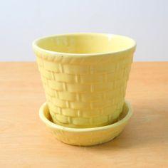 Vintage Morton Flower Pot  Yellow Basket Weave by lisabretrostyle2