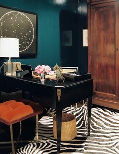 lauren gold // home office: deep teal walls, zebra rug, black desk Home Office Design, House Design, Office Designs, Home Interior, Interior Design, Interior Office, Interior Decorating, Decorating Ideas, Teal Walls