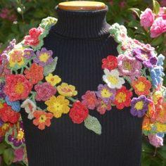 freeform crochet shawl - front