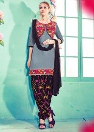 Casual Wear Grey Cotton Embroidered Work Patiala Suit