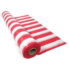 RED & WHITE STRIPED PLASTIC TABLECLOTH TABLE ROLL CIRCUS PIRATE PARTY SUPPLIES