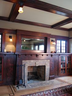 Fantastic remodel by Craftsman design and renovation. craftsman bungalow fireplace by Craftsman Fireplace, House Design, Fireplace Design, Craftsman Bungalows, Built Ins, Remodel, Craftsman Interior, Mission Style Homes, Craftsman Living Rooms