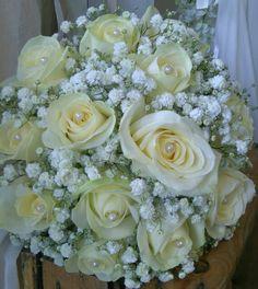 ivory roses with gypsophila bridal bouquet