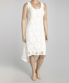 Love this Bright White Floral Sleeveless Dress - Plus by Modamix on #zulily! #zulilyfinds