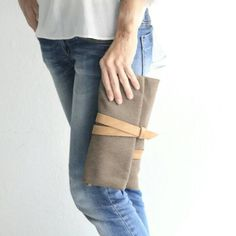 Mary clutch bag, made of waterproof canvas and Italian leather... Totally handmade by me! www.genuinemyself.com
