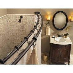MOEN 60 in. Stainless Steel Adjustable Double Curved Shower Rod in Old World Bronze-DN2141OWB - The Home Depot