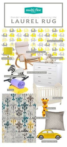 The Laurel Rug range marries muted shades with patterns. In a gender-neutral nursery, it finds its place among shades of yellow and grey. Size: x Elephant Wallpaper, Giraffe Toy, Wooden Chest, Shades Of Yellow, Nursery Neutral, Chair Cushions, Gender Neutral, Vintage Toys, Colours